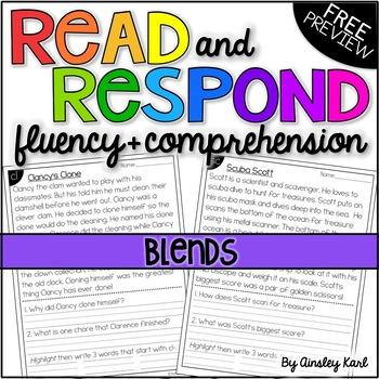 Phonics Reading Passages for Fluency & Comprehension - Blends