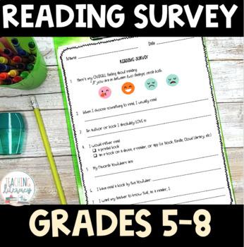 FREEBIE! Reading Habits Survey, Grades 5-8