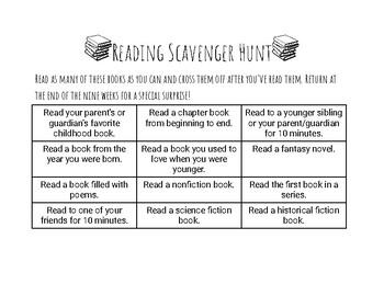 FREEBIE: Reading Scavenger Hunt Challenge