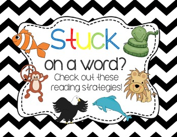 {FREEBIE} Reading Strategy Animal Posters- Chevron Themed