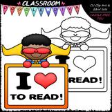 FREEBIE Reading Superhero Clip Art - Reading Clip Art & B&W Set