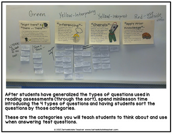 Free Reading Test Questions Stem Sort   Test Taking Activity