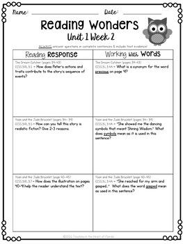 Reading Wonders 3rd Grade Constructed Response Worksheets FREEBIE
