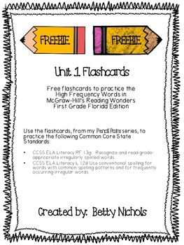 ***FREEBIE*** Reading Wonders Unit 1 HFW Flashcards ***FREEBIE***