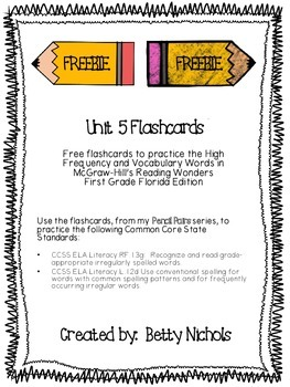 ***FREEBIE*** Reading Wonders Unit 5 HFW & Vocab Flashcard