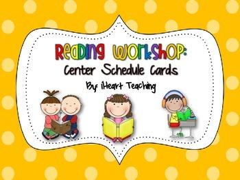 {FREEBIE} Reading Workshop Center Schedule Cards (First, Second, & Third Grade)