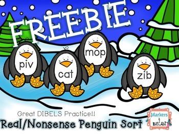 FREEBIE!  Real/Nonsense Penguin Sort DIBLES Review