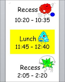 FREEBIE - Recess Schedule Poster - English, French - Customizable Word Document