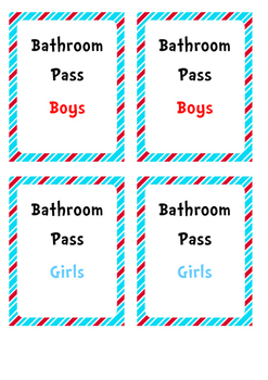 FREEBIE Red and Blue Striped, Dr Seuss Themed Bathroom Passes