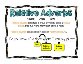 Relative Adverb Task Cards {CCSS L.4.1.A}