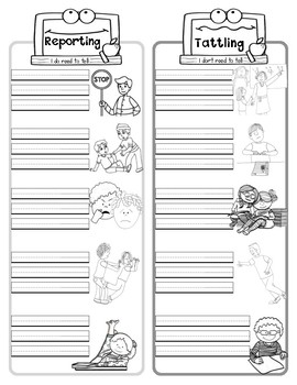 Reporting VS Tattling: Poster, Activity, & Worksheet