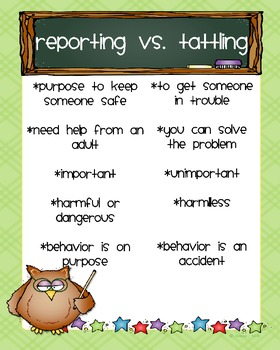 Reporting vs. Tattling Owl Poster *Freebie*