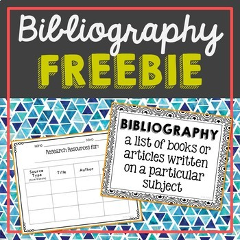 FREEBIE! Bibliography Page and Poster for Research Projects, Activity