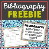 FREEBIE! Bibliography Page and Poster for Research Project
