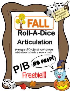 (FREEBIE!) Roll-A-Dice Articulation:  FALL/AUTUMN VOCAB: p/b