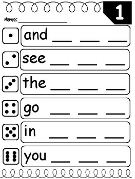 FREEBIE! Roll Read and Write Sight Words- 3 sets!