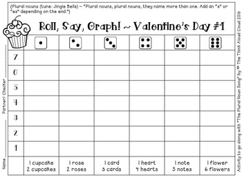 FREEBIE Roll, Say, Graph!  Literacy and Math {Valentine's Day Edition}
