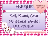 FREEBIE Roll and Read Nonsense Word Fluency (NWF) Valentin