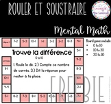FREEBIE Rouler et Soustraire Mental Math I French Freebie Subtraction Game