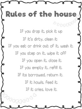 FREEBIE - Rules of the house