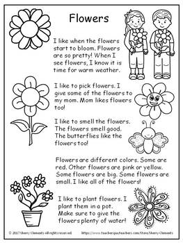 Flowers Read and Write FREEBIE SAMPLE (Close Reading)