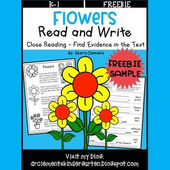 FREE DOWNLOAD : Flowers Read and Write (Close Reading)
