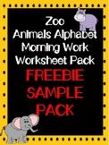 FREEBIE SAMPLE PACK!!!! Zoo Animals Alphabet Morning Work Worksheet Pack