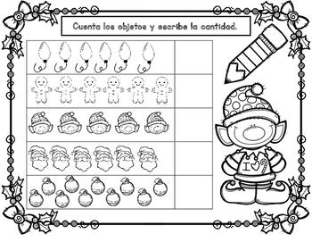 FREEBIE SAMPLER:  Diciembre Actividades de Matematicas para Kindergarten