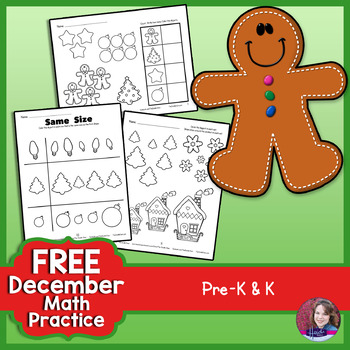 FREEBIE December/Winter No-Prep Math - Prek and Kindergarten