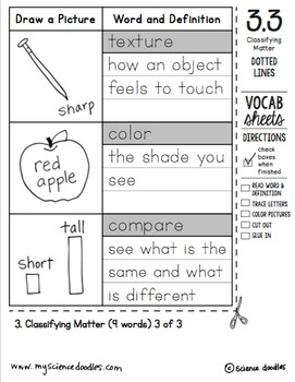 Doodle Notes - FREEBIE! K-1 All About MATTER Unit by Science Doodles