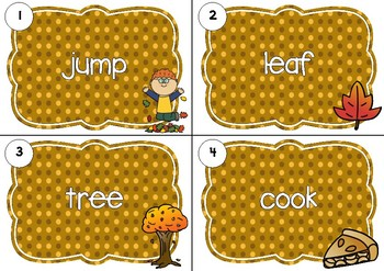 SCOOT! Autumn Themed Noun or Verb Task Cards