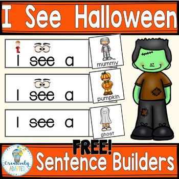 FREEBIE SENTENCE BUILDERS-Halloween (K-2/SPED/ELL)