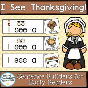 FREEBIE SENTENCE BUILDERS-Thanksgiving (K-2/SPED/ELL)
