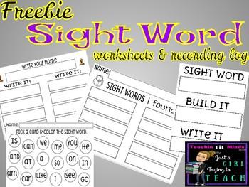 FREEBIE || SIGHT WORD logging sheets