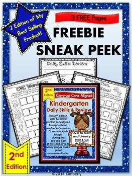 FREEBIE SNEAK PEEK: 2nd Edition Kindergarten Daily Skills & Review (Print & Go)