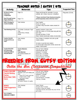 FREEBIE | STEM Activity | GUTSY Edition | Outta the Box Classroom Competition