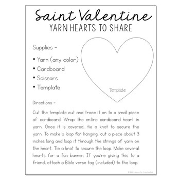 FREEBIE! Saint Valentine Crafts and Recipe - Bible Story Lesson for Big Kids