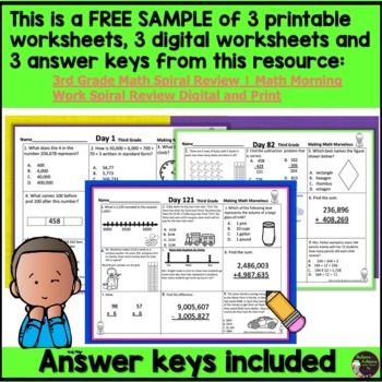 FREEBIE Sample from: 3rd Grade Daily Math Morning Work or Homework