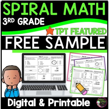 3rd Grade Math Spiral Review for Morning Sample:FREE !❤TPT Featured Resource❤