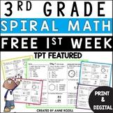 3rd Grade Math Spiral Review Worksheets Free Sample   Digital and Printable