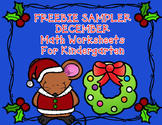 FREEBIE Sampler December Kindergarten Math Worksheets:  Christmas