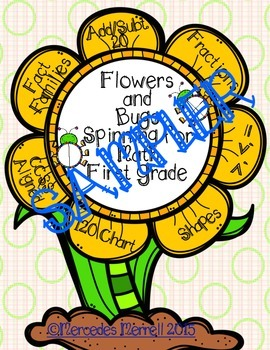 FREEBIE Sampler Flowers and Bugs Spinning for Math First Grade CCSS Aligned