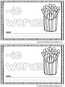 FREE -ie as long i Word Family Quick and Easy to Prep Printable Mini-Books