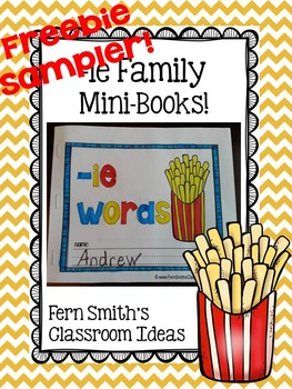 -ie as long i Word Family Quick and Easy to Prep Printable Mini-Books Freebie
