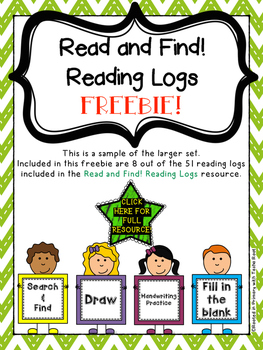 FREEBIE! - Sampler of Find and Read Reading Log - K-2 Common Core Reading Log