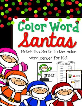FREEBIE--Santa Color Word Center for K-2