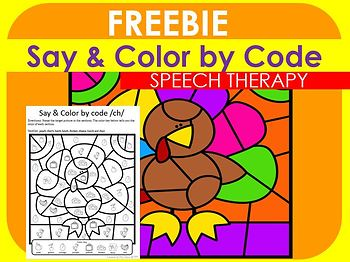 FREEBIE Say & Color By Code Thanksgiving Design /ch/