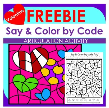 FREEBIE Say & Color by Code for Speech Therapy Valentine Design