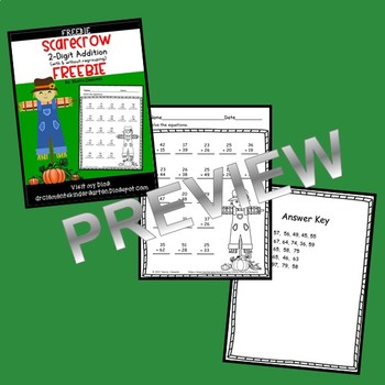 FREEBIE Scarecrow 2 Digit Addition (with & without regrouping)