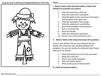 Print and Go FREE: Scarecrow Listening Comprehension Activity